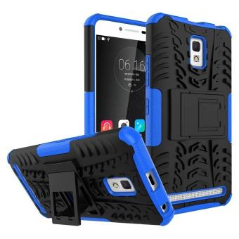 TPU+PC Dual Layer Hybrid Tough Rugged Armor Kickstand Cover Casefor Lenovo A6600 / A6600 Plus (Blue) - intl
