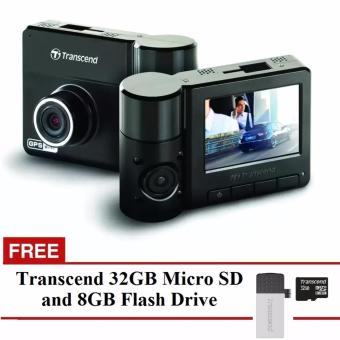 Transcend DrivePro 520 Car Video Recorder (Black) with FreeTranscend 32GB Micro SD and 8GB Flash Drive
