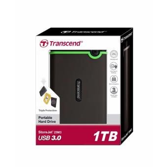 Transcend StoreJet Rugged Compact 25M3 1TB 3.0 Portable Hard Drive (Iron Gray) + 3 YEARS WARRANTY - 3