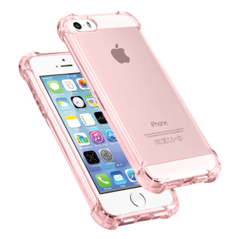 Transparent TPU Shockproof Soft Case for Apple iPhone SE / 5S / 5(Pink)