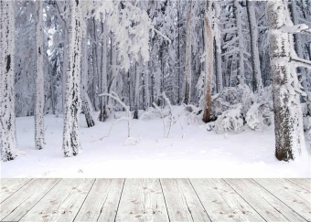 Trees Photography Backdrops Photo Props Winter Snow Wooden FloorScenic Background Vinyl 210cm x150cm jp048 - intl