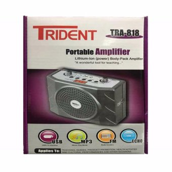 Trident TRA-818 Portable Body-Pack Amplifier FM Radio/MP3 Player with Lapel Mic (Grey)
