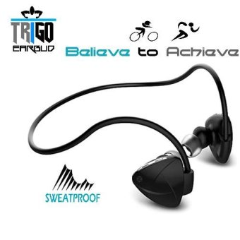 Trigo Earbud SH03D Wireless Sport Bluetooth Headset with IPX5Sweatproof case (Black) - - for jugging, work-out, gym, andfitness.