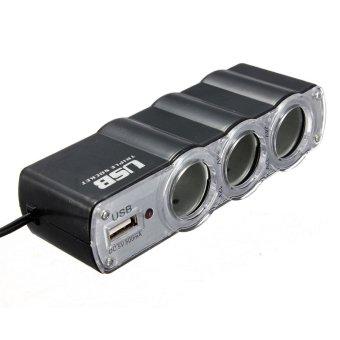 Triple USB Car Cigarette Lighter Socket Splitter Charger Adapter 12V 24V (Black) - 4