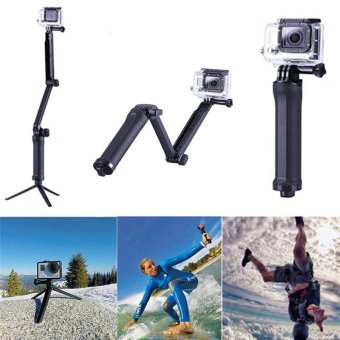 Tripod Monopod for Gopro Hero 5 4 3 3-Way Fold Arm Palo SelfieStick Tripe for Xiaomi Yi 4K Go Pro Sj4000 Camera Accessories(Black) - intl