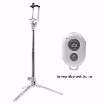 Tripod Stand Bluetooth Remote Shutter Aluminium Telescopic MonopodSelfie Stick For iPhone6S Samsung Galaxy S6 Smartphones (White)