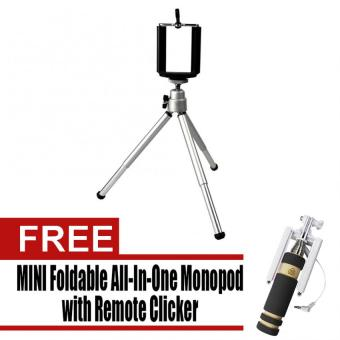 Tripod Stretchable Tabletop Bracket Portable Holder Selfie Stick(Silver) with Free Mini Foldable All-In-One Monopod with RemoteClicker (Black)