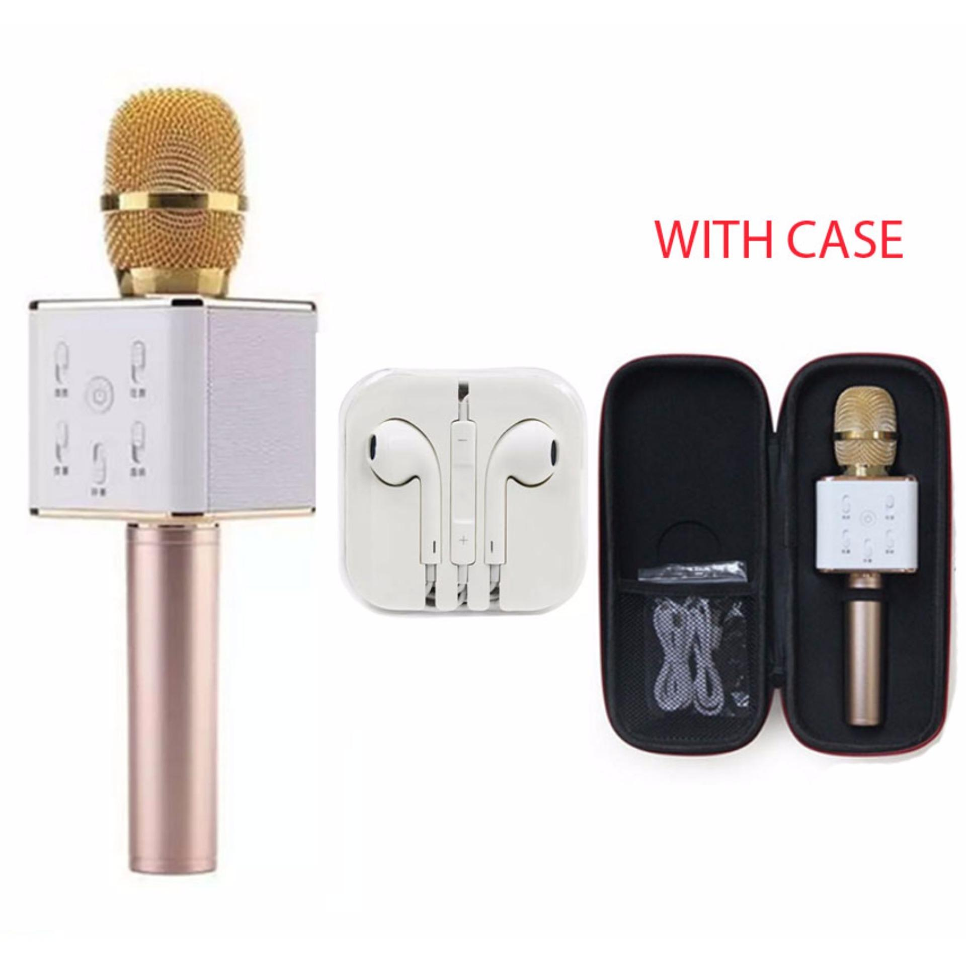 TUXUN Q7 Wireless KTV Karaoke Microphone Bluetooth Speaker(Gold)with Headset White