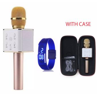 TUXUN Q7 Wireless KTV Karaoke Microphone Bluetooth Speaker(Gold)with Led Watch Color May Vary Price Philippines