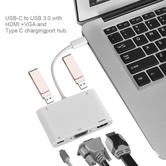 Type-C to VGA + HDMI + Type-C + Two USB3.0 Charging Converter forMacbook White - intl