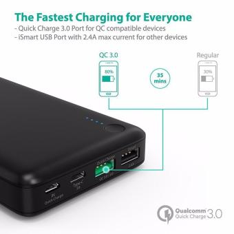 Type-C/USB-C Input & Output RAVPower RP-PB43-BLACK 20100mAhPortable Charger QC 3.0 Qualcomm Quick Charge 3.0 Power BankExternal Battery Pack for Macbook, Nexus 6, iPhone and More - 4