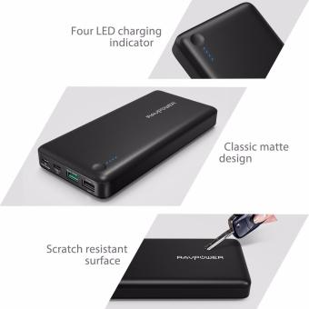 Type-C/USB-C Input & Output RAVPower RP-PB43-BLACK 20100mAhPortable Charger QC 3.0 Qualcomm Quick Charge 3.0 Power BankExternal Battery Pack for Macbook, Nexus 6, iPhone and More - 5
