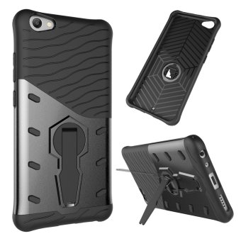 UEKNT Heavy Duty Rugged Armor Shockproof Case with 360 Degree Swivel Rotating Kickstand Cover Case for Vivo V5s (Black) - intl