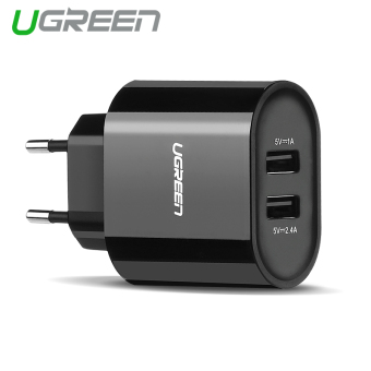 UGREEN 5V3.4A Universal Dual USB Phone Wall Charger Travel ChargerAdapter - Black,EU Plug