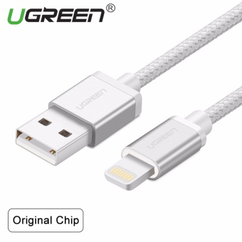 UGREEN Metal Alloy Original USB Lightning Cable USB Charger CordNylon Bradied Design for iPhone 4 5 6 7 iPad - Silver,2M - intl