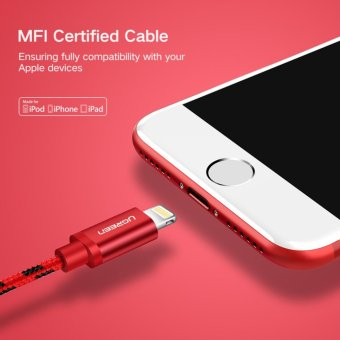 UGREEN Metal Alloy USB Lightning Cable USB Charger Cable NylonBradied Design for iPhone 4 5 6 7 iPad - Red,0.5M - intl - 3