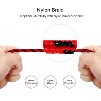 UGREEN Metal Alloy USB Lightning Cable USB Charger Cable NylonBradied Design for iPhone 4 5 6 7 iPad - Red,0.5M - intl - 4