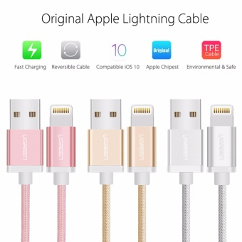 UGREEN Metal Alloy USB Lightning Cable USB Charger Cable NylonBradied Design for iPhone 4 5 6 7 iPad - Silver,1.5M - intl - 3