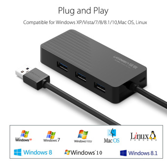 UGREEN Multi-function 3 Ports USB 3.0 HUB with TF / SD Card ReaderSlot Compatible with Windows XP/7/8/10,Mac OS,Linux(100cm) - Black - 4