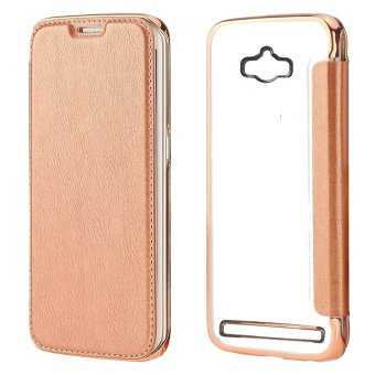 Ultra Clear Slim Case with Flip Cover for Asus Zenfone Max (Rose Gold)
