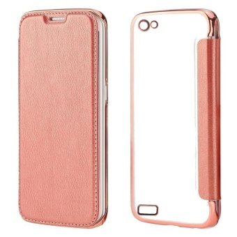 Ultra Clear Slim Case With Flip Cover For Oppo Neo 7 (Rose Gold) And Free Unique Lazy Pod