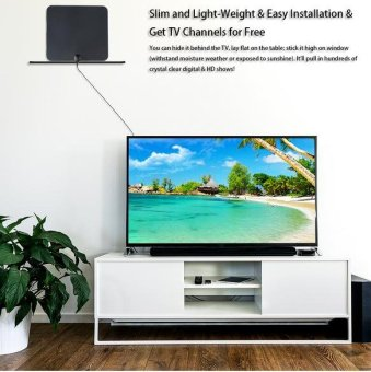 Ultra-Thin 35-Mile Range High Indoor Amplified Digital HDTV TVAntenna 16ft Cable EU Plug - intl Price Philippines