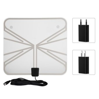 Ultra-Thin 50 Miles Digital TV HDTV Antenna with 16ft Cable (EU Plug) - intl