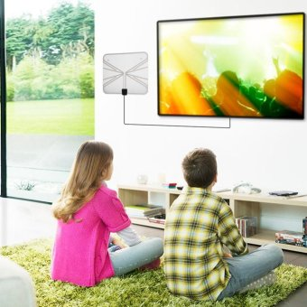 Ultra-Thin 50 Miles Digital TV HDTV Antenna with 16ft Cable (US Plug) - intl