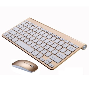 Ultra Thin Wireless keyboard mouse 2.4G keyboard Mouse combo and 2.4G USB Receiver for Macbook,Computer PC,Laptop and TV BOX - Golden - intl - 2