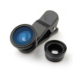 Universal 3-in-1 Clip-On Wide Angle + Fisheye + Macro Lens Set for Smartphone and Tablet Camera-(Black) - picture 2