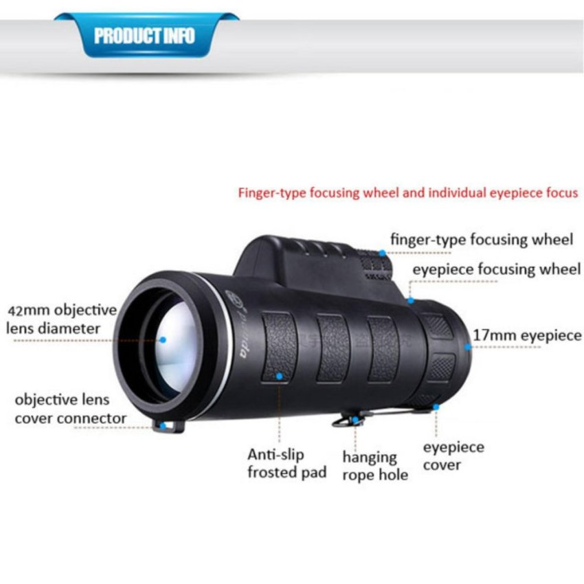 Universal 35 x 50 HD Hiking Concert Camera Lens Zoom Monocular +Clip for Smartphone Black - intl