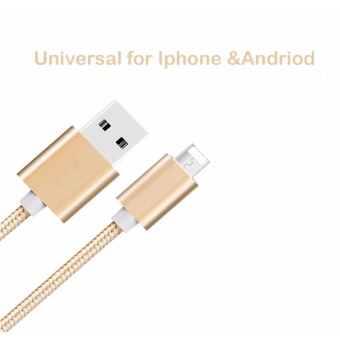 Universal Lightning Cable for Iphone & Android Fast Charging 1Meter Multi-Color Durable Braided Nylon (Gold) - intl Price Philippines