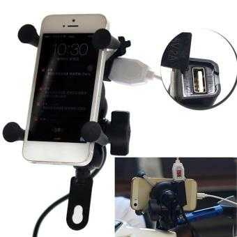 Universal X Type Motorcycle Mount Holder Stand USB Charger For Cell Phone