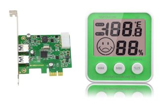 Uplift 2-Port USB 3.0 Expansion Card Bundle with Uplift TH-155 Digital Thermometer and Hygrometer (Green)