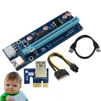 USB 3.0 PCI-E Express 1x To 16x Extender Riser Card Adapter for ETH GPU Mining