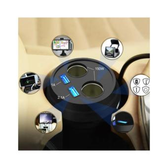 USB Car Charger 2 Ports Cup Holder Cigarette Lighter Power Adapter- Black
