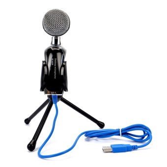USB Condenser Microphone Mic Studio Audio Sound Recording withStand (Black)