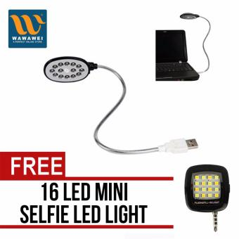 USB LED Light for Laptop Computer (Black) with free 16-LED MiniSelfie Light (Color May Vary)