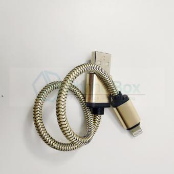 USB Metal Braided iPhone data/charging cable for power bank (gold) - 2
