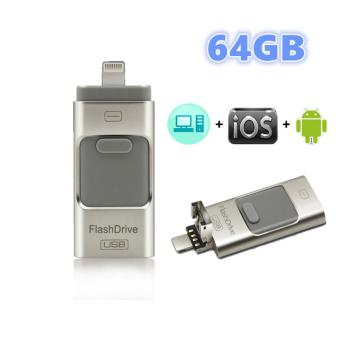USB OTG Drive,64GB External Storage U-disk Connector for IPhone5/5s/5c/6/6 Plus/6s/6s Plus, IPad Mini 1/2/3/4, IPad Air/Air 2,IPad Pro(Silver)
