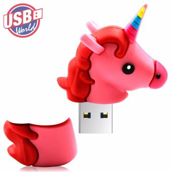 USB World Action Figure Pink Unicorn 32GB USB Rubber Flash Drive