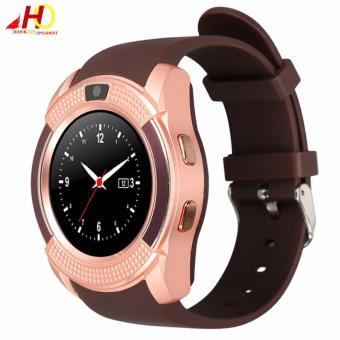 V8 Bluetooth Smart Watch support Sim TF Card Slot (Rose Gold)