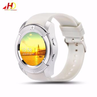 V8 Bluetooth Smart Watch support Sim TF Card Slot (White/SIlver)