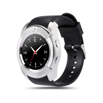 V8 Smart Watch Phone 0.3M Camera Bluetooth Music Player And SIM(Silver/Black Strap)