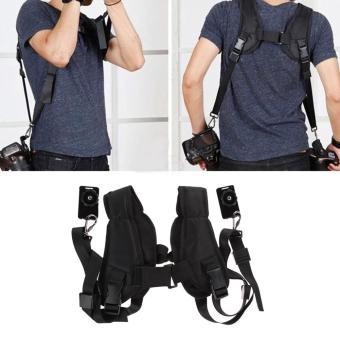 VAKIND Quick Rapid Double Dual Shoulder Sling Belt Strap for TwoDSLR Digital Camera (Black) - intl - 2