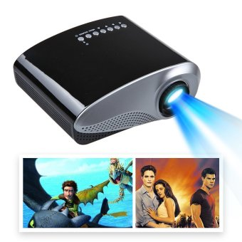 VANPIE Mini 1080P HD LCD Portable Projector Home Cinema Support AV TV VGA HDMI Connect with Video Games(Black)