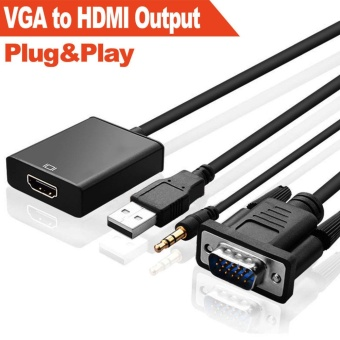 VGA Male To HDMI Output 1080P HD+ Audio TV AV HDTV Video CableAdapter Converter - intl