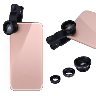 VODOOL Clip 3-in-1 180 Fish-Eye Lens+0.67X Wide Angle Lens+10XMicro Lens General Mobile Phone Lens Black for iphone7 plus/6Splus/5 Samsung S5 S6 S7 edge - 4