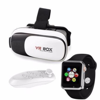VR Box 3D Virtual Reality Glasses for Smartphone with Modoex M1 Smartwatch Black and VR Bluetooth Controller Price Philippines