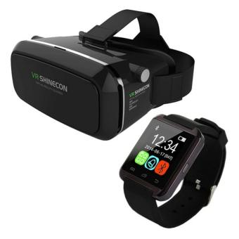 VR Box Shinecon Smartphone 3D Virtual Reality Glasses (Black) withBluetooth Touchscreen Smart Watch (Black) Price Philippines